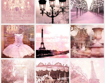 Paris Photography Print Set, Paris Dreamy Pink Decor, Paris Shabby Chic Decor, Paris Pink Wall Art, Paris Pink Baby Girl Nursery Art Prints