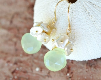 Keishi Chalcedony Gold Earrings - Cluster of Freshwater Pearls, Faceted Semi Precious Stone, Wire Wrapped, Hand Forged, 14k Gold Filled