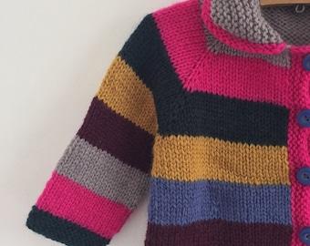 Girls 'STRIPY' Cardigan - NEW -  size 4 - natural wool