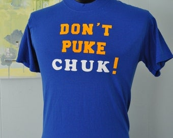 Drinking Tee Dont Puke Chuk 21st Bday Humor Funny Soft n Thin Royal Blue Gold Goldenrod MEDIUM