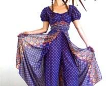 70s OnePiece Kaftan Vintage Indian Hippie Jumpsuit Harem Pants Split Skirt Onepiece Blue Cotton Paisley Print 1970s Ethnic Loungewear Adini