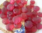 Reduced- 6mm Czech Lentil Glass Beads- Matte Fuchsia (50)