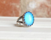 Sterling Silver Mood Ring, Color Changing Ring, Gypsy Jewelry, Boho Ornate Ring, Mood Jewelry, Festival Jewelry, Handmade in USA