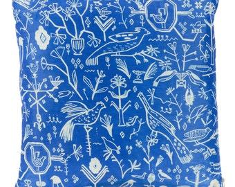 Blue and White Silk Grecian Bird Folk Cushion Pillow