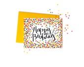 Colorful Birthday Card, Single Rainbow Confetti Happy Birthday Card with Handwritten Typography