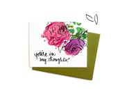 Floral Sympathy Card, Watercolor Flowers You're In My Thoughts, Single Thinking of You Greeting Card