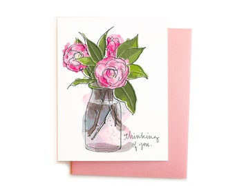 Sympathy Card, Feminine Thinking of You Card, Sympathy, Soft Pink and Green Camellias