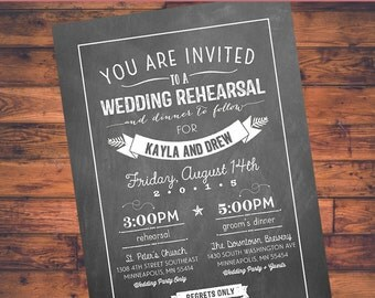 Chalkboard Art - Wedding Rehearsal & Dinner Invite (5x7) Digital Design