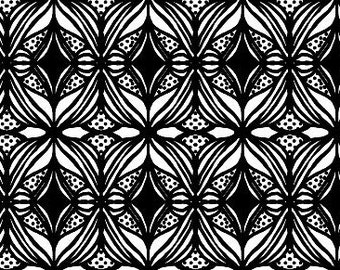 Modern Black and White High End Designer Organic Cotton Fabric by the Yard