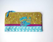 """Zipper Pouch, 5x9"""" in Blue, Olive, Berry, Red, and White Polkadots and Deer with Handmade Felt Raccoon Embellishment, Raccoon Pencil Case"""