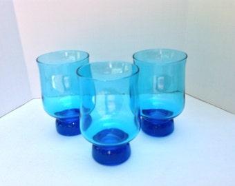 Three Aqua Blue Mid Century Drinking Glasses