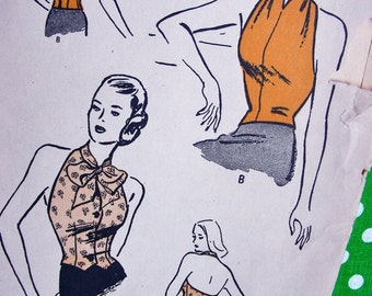 """1940s Halter Tops Pattern  * RARE * Butterick  Pattern 3858 - Bombshell Halter Tops in 3 Versions  // """"Quick and Easy"""" * Bust 32 to 34"""
