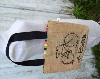 Handmade Bicycle Folded Burlap Tote Bag Purse