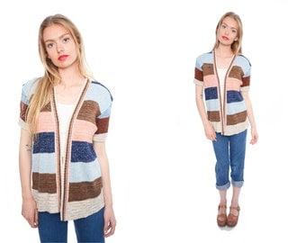 70s Vintage Striped Cardigan Medium