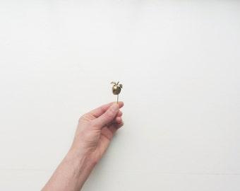 brass apple brooch pin . metal fruit slice cut out . vintage teachers pet .sale s a l e