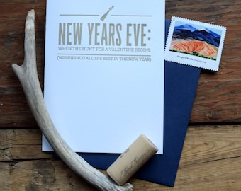 SASS-H153 New Years Eve hunt for valentine begins letterpress greeting card