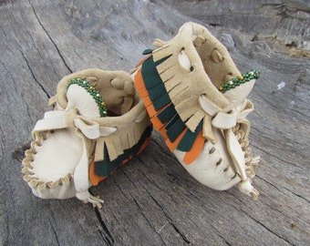 Baby Moccasins By Desi, Soft Deerskin leather, 3 to 6 months, Fringe, High top, Boho, Hippie, Booties, Girl, Boy, Infant, Orange, Green,