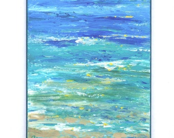Beach painting of shoreline, 8x10 close up waves and sand, blue turquoise, foam and sun reflections