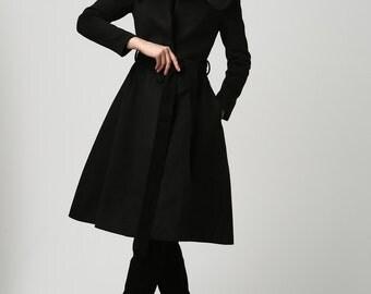 Knee length coat, wool coat, black coat, fitted coat, classic coat, warm coat, tailored coat, womens outwear, casual coat, gift (1103)