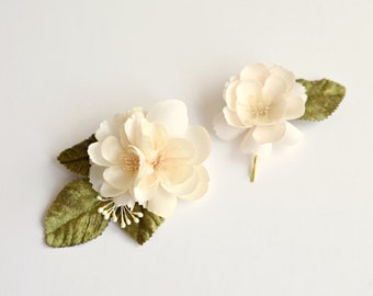 Bridal hair pins, cream flower clips, ivory hair clips, wedding bobby pins, floral clips, wedding hair accessory - Della