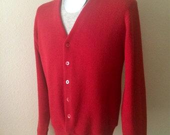 Vintage Men's 70's Cardigan Sweater, Red, Long Sleeve