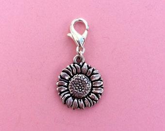 Sunflower clip on charm, Flower garden bracelet charm, Spring summer nature inspired, Teacher gift, Gift for her, Bohemian Design Studio UK