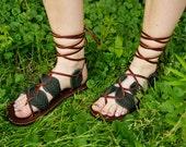 Unisex Gladiator Leaf Sandals / Handmade Leather Sandal Flats Lace Up Straps Greek Medieval Renaissance Renfest Fairy Faerie Pan