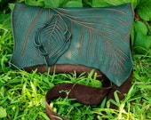 Large Chocolate Brown Green Leather Leaf Forest Purse / Bag Tote Woodland Faerie Renaissance Hobbit Earthy LARP Wood Leaves Fairy Festival
