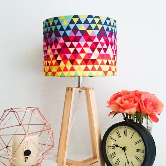 wooden table lamp with geometric rainbow fabric by kbsdesigns. Black Bedroom Furniture Sets. Home Design Ideas