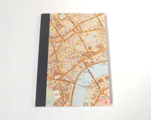 UK #14 - London Street Map - Recycled Road Map Notebook
