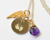 Miscarriage Jewelry / Infant Loss Jewelry / Angel Wing Necklace / Footprints Necklace / Birthstone Necklace / Gold Filled