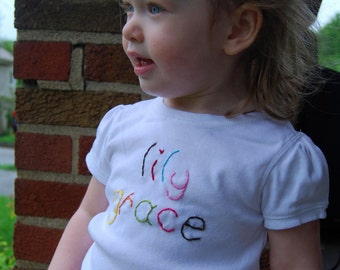 Personalized Baby Girl Shirt, Embroidered Name Shirt, Baby Girl Name Shirt, Baby Embroidered Shirt, Personalized Name Shirt, Initial Shirt