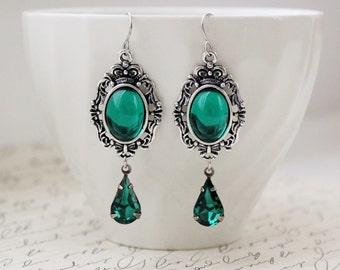 Emerald Green Earrings in Antique Silver or Antique Bronze