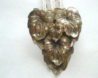 Fur Clip Leaf Silver Gold Tone