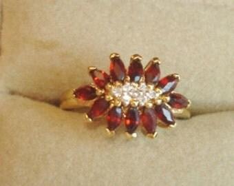 Garnet Clear Vintage  Ring