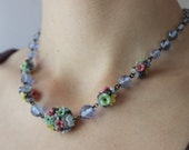 Czech Art Glass Flower Cluster Rhinestone Blue Crystal Bead Necklace 1930s Czechoslovakia VINTAGE By Plantdreaming