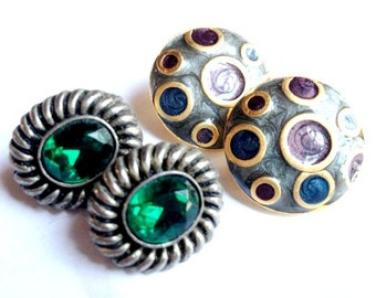 Vintage - 2 Pairs of Clip on Earrings - Circa 1980's