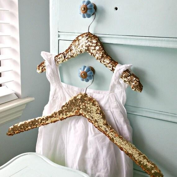 Big Little Sequin Hanger - Set of Two Child Sequin Hanger. Flower Girl Sequin hanger. wedding