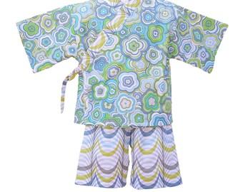 Girls Kimono Jinbei MODERN FLORAL kimono top and shorts set Japanese baby toddler kids girls