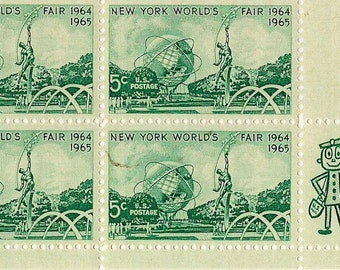 New York World's Fair vintage stamps uncanceled, unused, Plate Block, green vintage 1965 United States stamps commemoratives  FREE SHIPPING