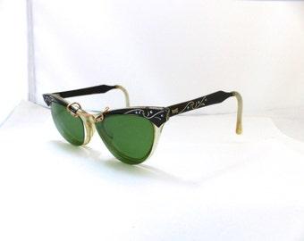 1950s Cateye Cats eye  Eyeglasses Bronze and  Black two tone by Marine brand USA
