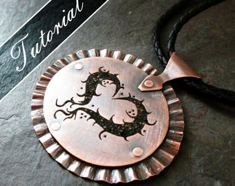 Dragon Heart Pendant Tutorial.  Pierced and Riveted Copper with Concrete Inlay, Template Included