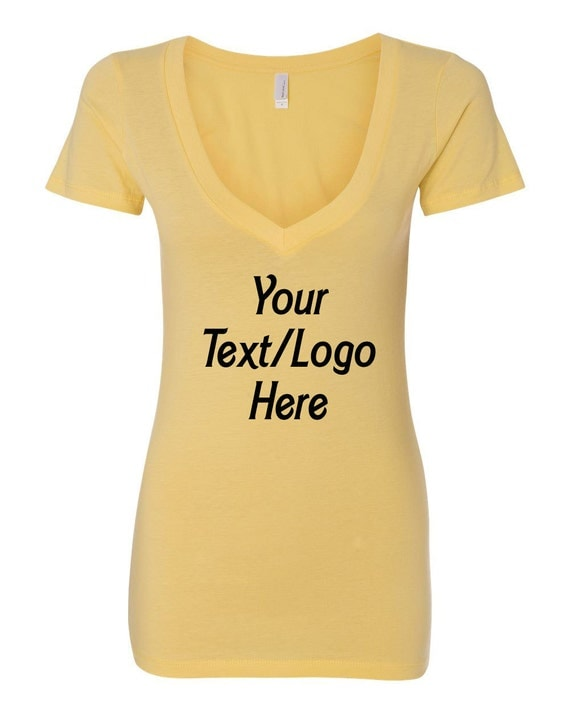 Personalized T Shirt Next Level Ladies 39 Deep V Neck Soft