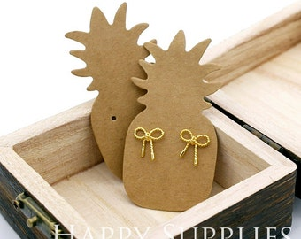 64X32MM Kraft Paper Pineapple shape Earring Display Tags/ Earring Display Cards / Earring Holder, Jewellery Supplies, Packaging (TAG25)