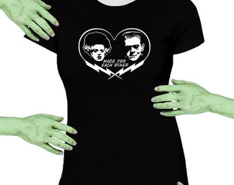 Voodoo Sugar Bride and Frankenstein Monster Made For Each Other  Black Missy Fit t-shirt Plus Sizes Available