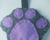 Paw print keychain purple