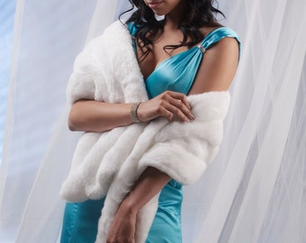 Prom Faux Fur Stole shawl wrap 4 grooved rows wide Available in winter white, ivory, cream or black