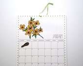 2016 Wall Calendar, 8.5x11 inches featuring 12 different woodland illustrations in blue, red, brown, gray, green, and mustard yellow
