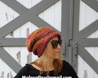 Slouchy Hat, One Day Sale Hat, GIFT Hat, Womens Mens Bohemian Hat, Slouchy Boho Hat, Beanie Beret Hat, Chemo Travel Hat, Slouchy all season