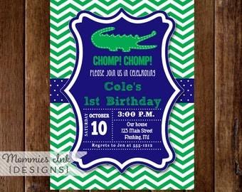 Royal Blue and Green Alligator Invitation, Alligator Birthday, Gator Party, Boy Birthday, 1st Birthday, Alligator Party, Chevron Invitation
